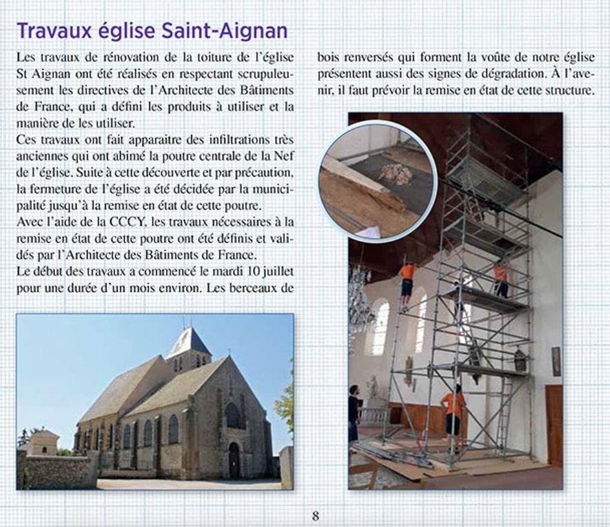 Les travaux dans l'église de Gambais