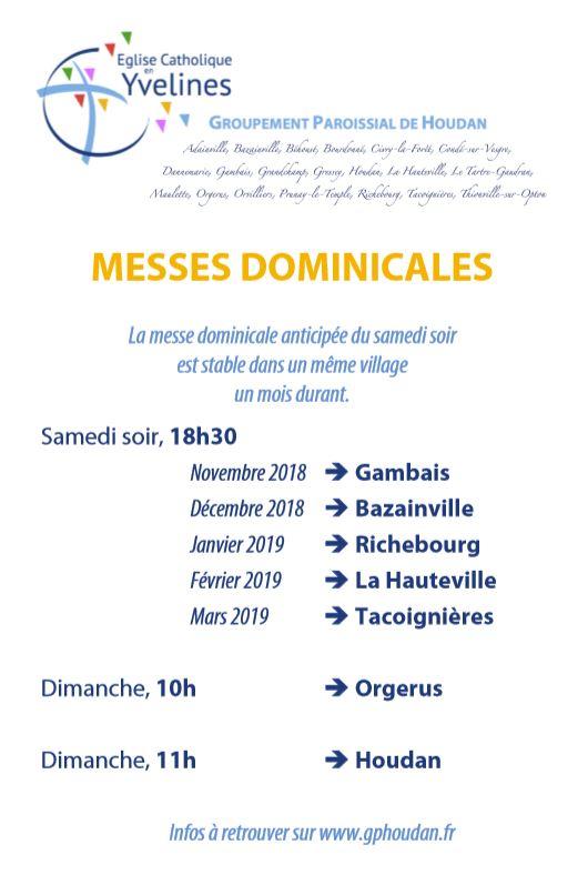 Messes anticipées jusqu'en mars 2019
