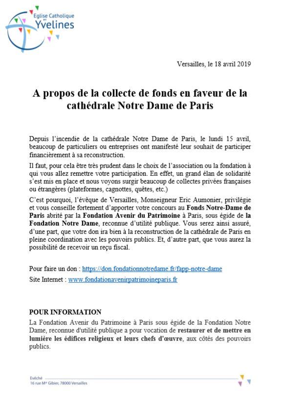 Dons pour Notre Dame de Paris
