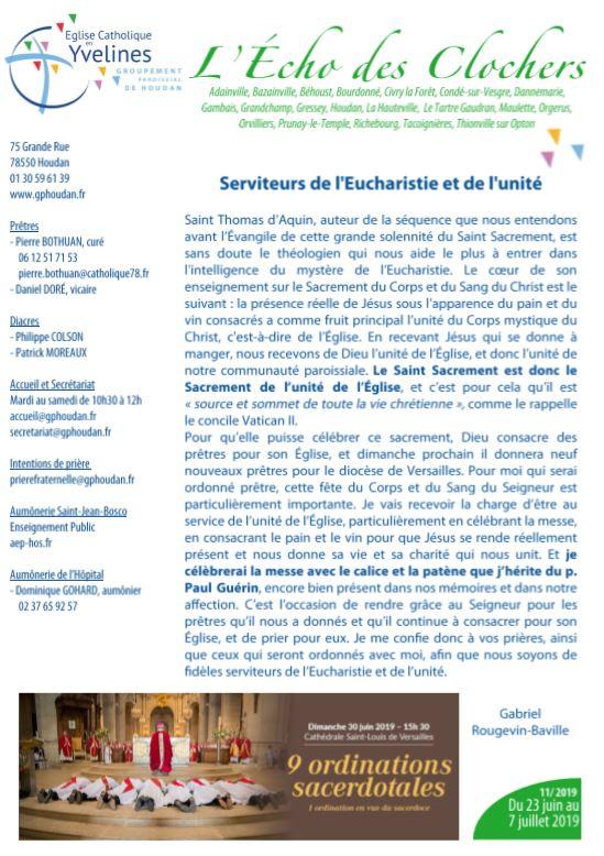 Serviteurs de l'Eucharistie et de l'unité