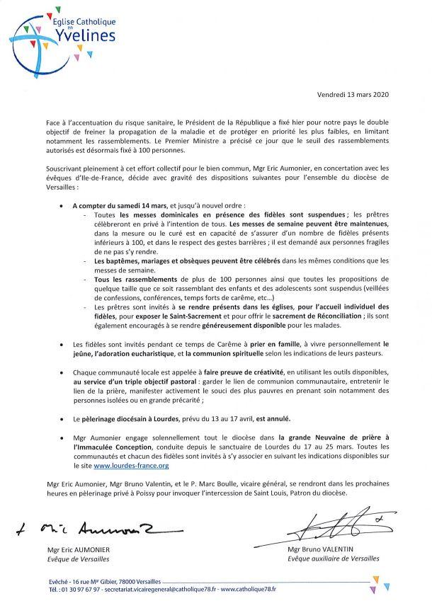 Communication de l'évêque de Versailles