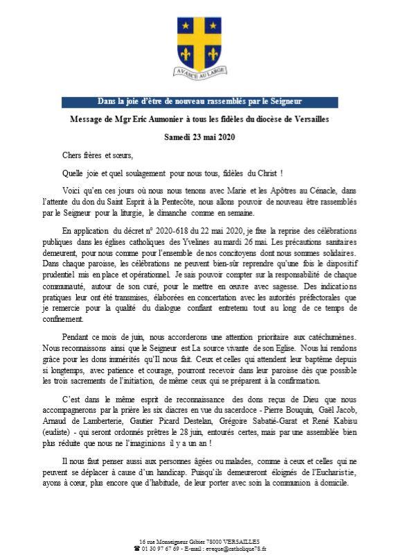 Communication de notre évêque (23 mai 2020)