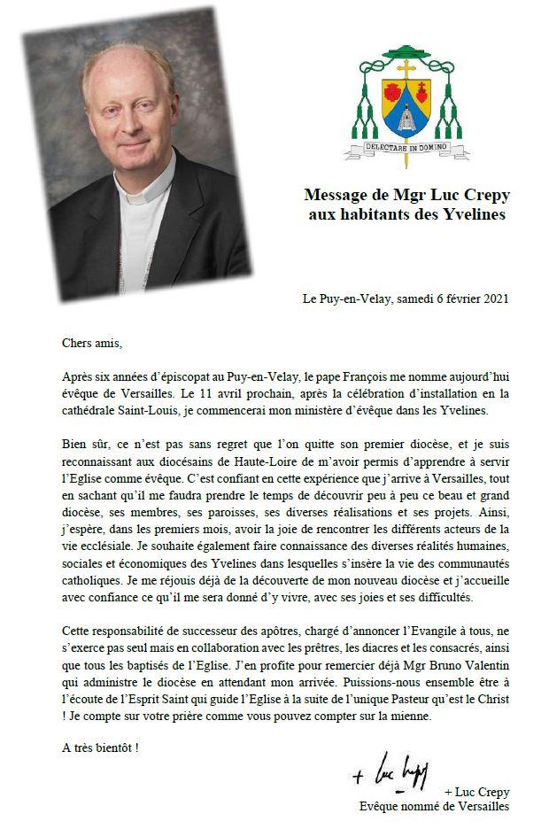 Message de Mgr Luc Crepy