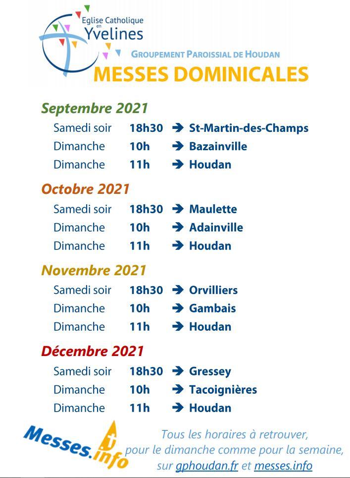 Messes dominicales (sept.-déc. 2021)